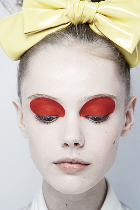 face, fashion, frida gustavsson, luella, luella ss 2010, make up, makeup, model, red, ss 2010, yellow