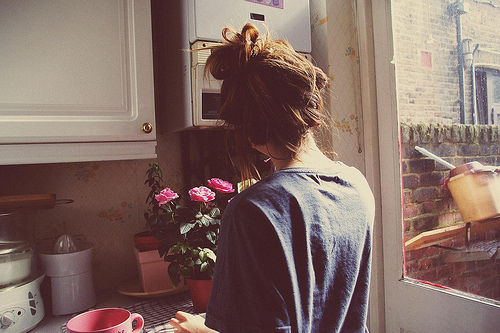 girl, kitchen, morning