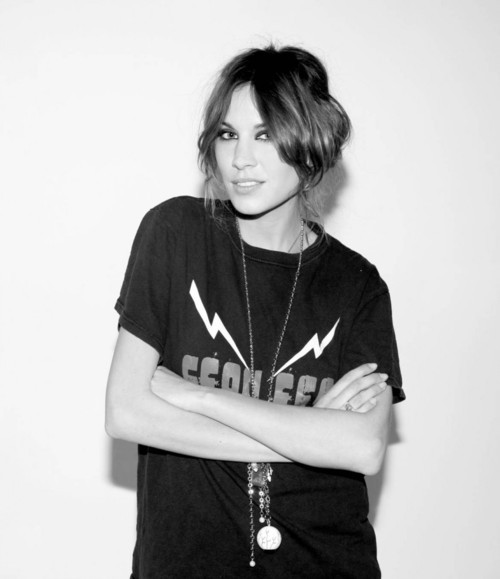 alexa chung, black and white, british, brunette, clothes