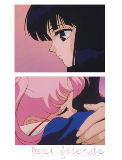 anime, bishoujo, chibi moon, chibi usa, cute, hotaru, kawaii, pink hair, sailor moon, sailor saturn, screen cap, senshi