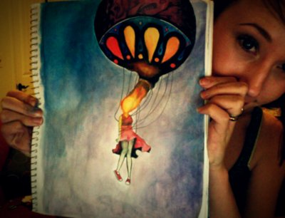 art, circa survive, colors, design, drawing, girl, lawlnicoleface, on letting go, painting, watercolors