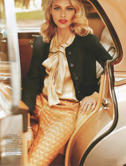 australia, back seat, black, blonde, blouse, chanel, gold, january 2011, limo, madalena valevska, pants, satin, scanlan & theodore, shop til you drop, smooth, steven chee, sweater, teresa