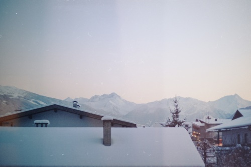 austria, christmas, mountains, rooftops, snow, village, winter