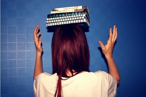 back, balance, blue, books, girl, head, red head, white
