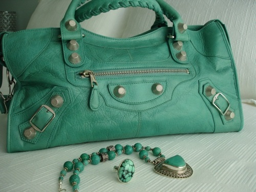 bag, balenciaga, fashion, green, jewelry, necklace, purse, ring