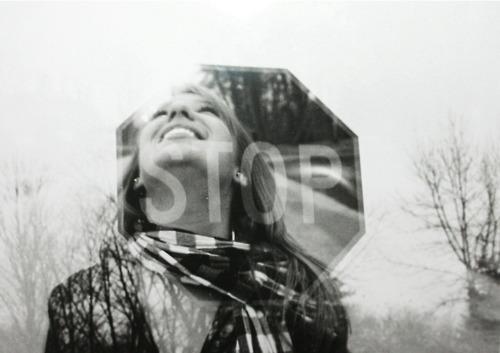 b&w, black and white, cool, double, double exposure, exposure, girl, illusion, scarf, sign, silhouette, smile, stop, stop sign, street, tree