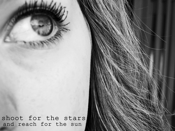 b&w, black and white, eye, eyelashes, eyes, fashion, hair, love, picture, quote, stars, sun, text