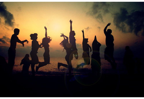 beach, friends, jump, sunset