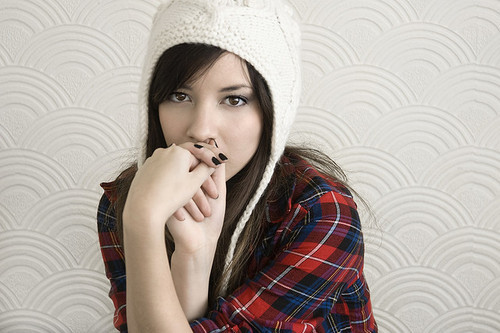 beanie, checkered, cute, girl, photography