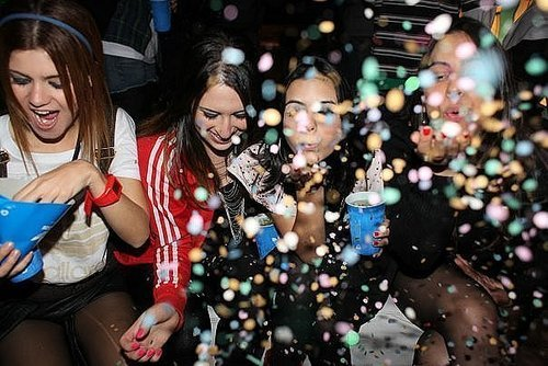 beautiful, girls, glitter, party, three girls