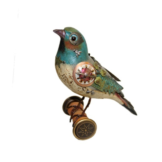 bird, clock, color, spool, steampunk, warbler