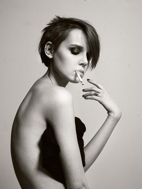 black and white, girl, henrik adamsen, short hair, smoking