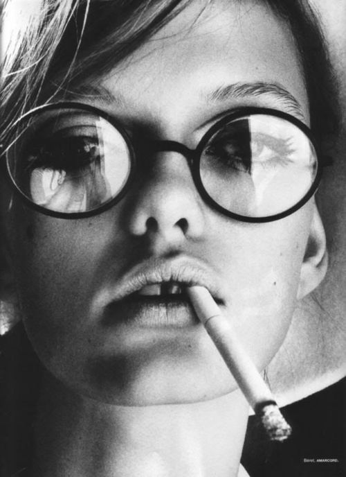 black and white, glasses and smoking