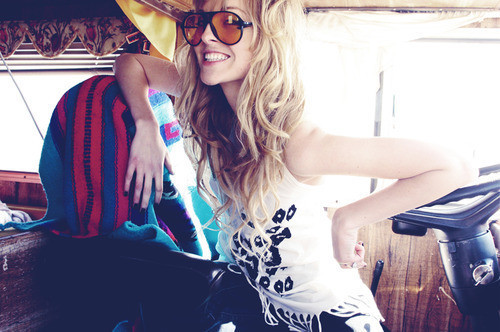 blonde, funny, girl, glasses, smile