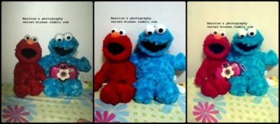 blue, camera, cookie monster, cute, elmo, lomo, lomo camera, photography, pink, red