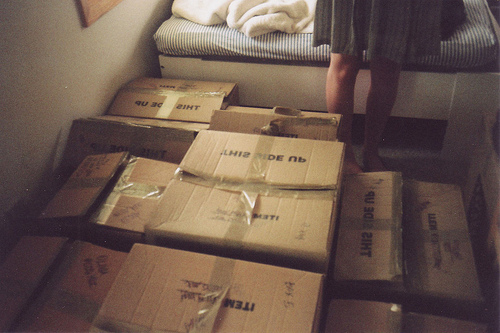 boxes, dress, girl, photography, room