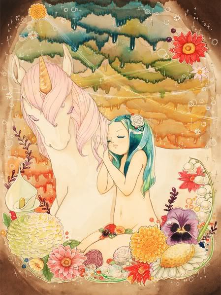 cartoon, cute, fantasy, girl, horse, unicorn