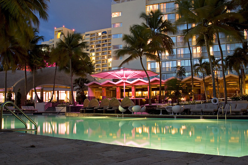 dark, hotel, lights, luxe, luxe3, luxury, palm trees, pool, sky, tree, trees