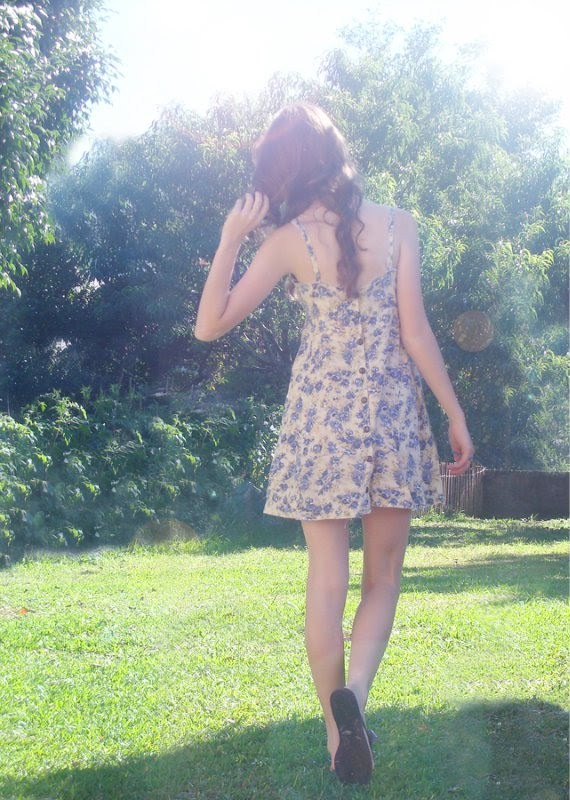 dress, girl, grass, green, long hair