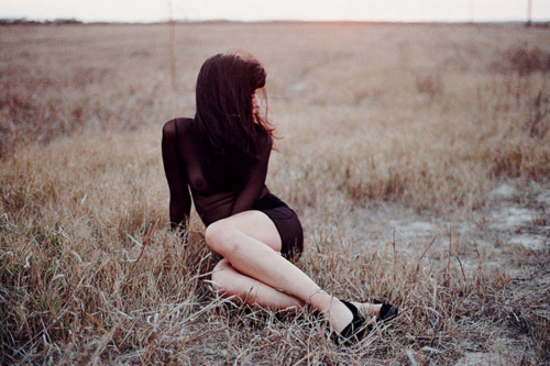 fashion, field, girl, hair, legs