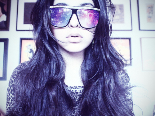girl, glasses, shades, stars, sunglasses