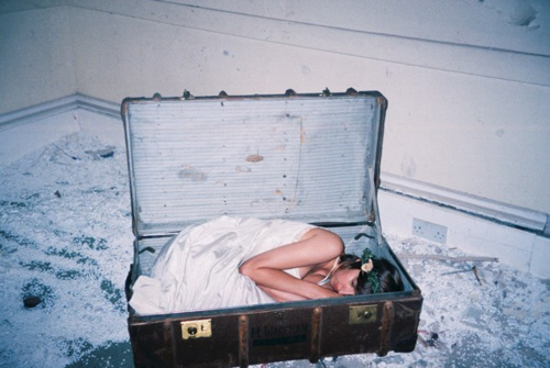 girl, loneliness, photo and suitcase