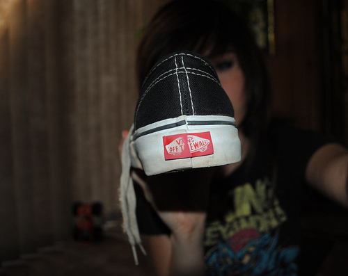 girl, off the wall, shoes, vans