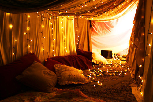 a&jroominspiration, cushions, fairy lights, hideout, lights, pillows, red, sanctuary, tent, yellow