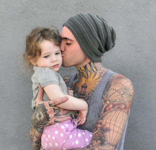 adorable, baby, cute, father, hipster, hot, kid, tattoo