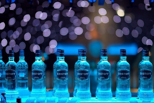 alcohol, blue, bottles, drinks, separate with comma, vodka