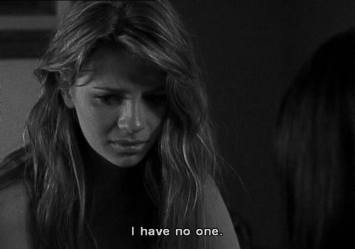 alone, black and white, depressed, girl, lonely, mischa barton, pretty, text