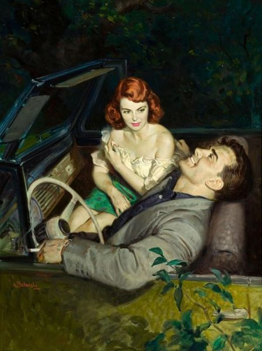 amazing, art, car, couple, drawings, illustration, leaning back, painting, vintage