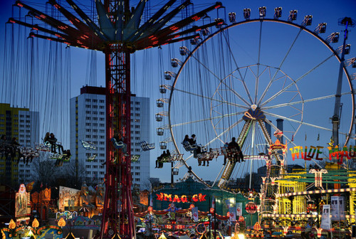 amusement park, boardwalk, carnival, ferris wheel, night, photo, photography, swings