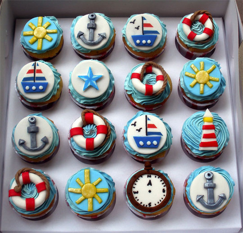 anchor, blue, boat, cupcakes, lighthouse, nautical, red, summer, sunshine, white, yellow