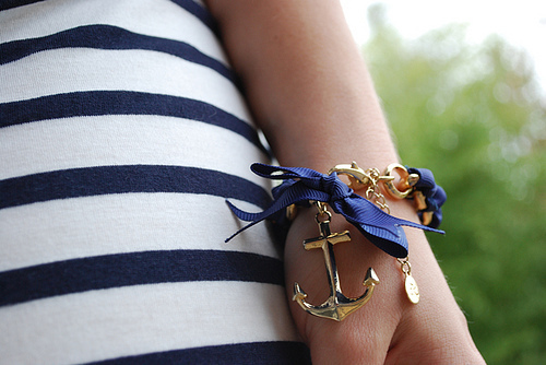 anchor, blue, bracelet, cute, nautical