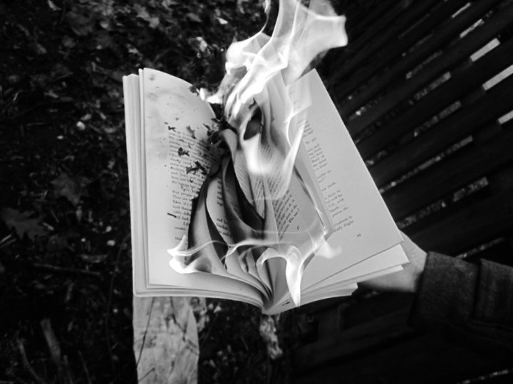 art, black and white, book, book on fire, burn