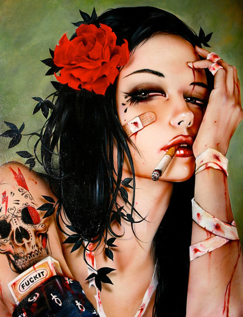 art, blood, brian viveros, flower, girl