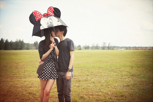 asian, black hair, boy, brunette, couple, fashion, girl, guy, hug, kiss, legs, long hair, love, mickey mouse, minnie, separate with comma, skinny, umbrella