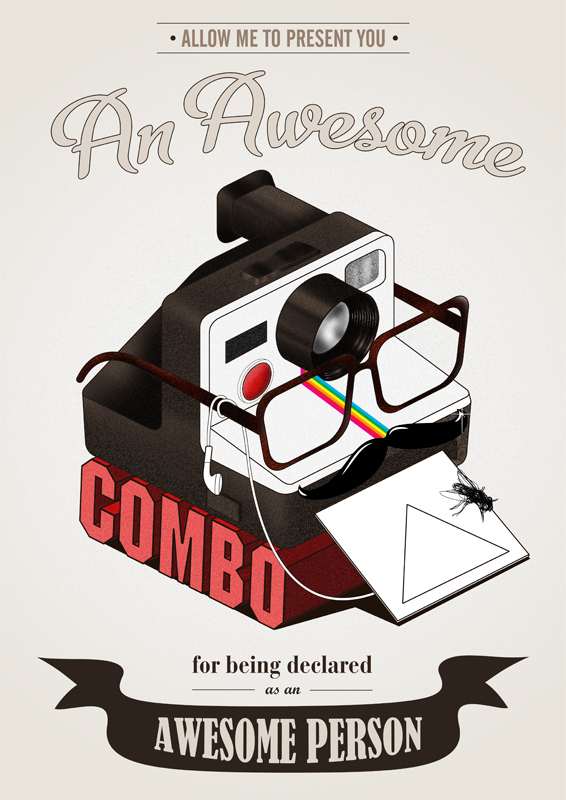 awesome, combo, glasses, hipster, illustration, mustache, polaroid, sarcasm, triangle, vintage