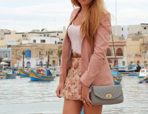 bag, belt, blazer, blonde, clothing, cute, fashion, floral, flower skirt, giftgirls, girl, hair, long hair, outfit, photography, pink, pink jacket, purse, shirt, skirt, style, summer, superficialgirl, water, white tanktop