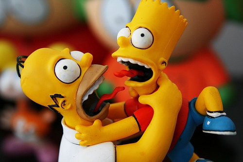bart simpson, homer simpson, photography, the simpsons