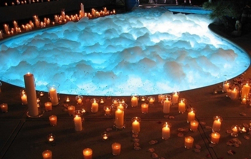 bath, bubbles, candles, hot tub, pool, pretty, romantic, water