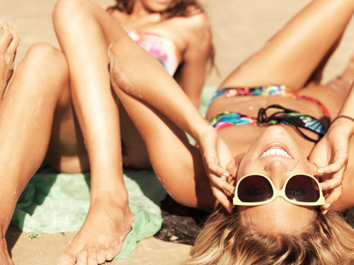 beach, bikkini, blonde, cute, girls, laugh, pretty, sand, smile, summer, sun, sunglasses