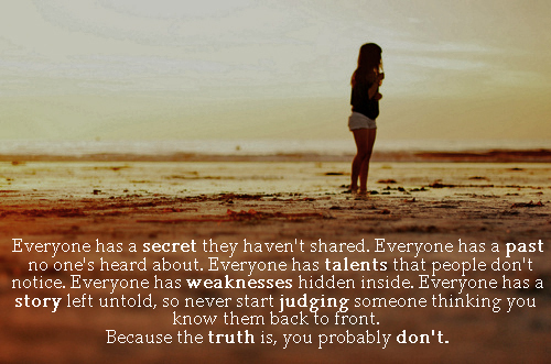 beach, body, girl, image, judging, lies, life, past, quote, secret, text, truth, typography, weakness