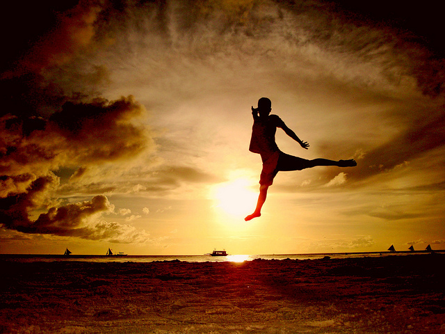 beach, boy, clouds, jumping, sand