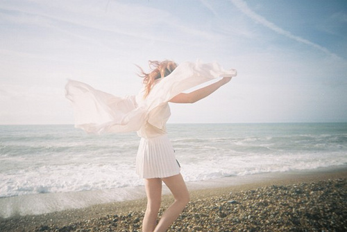 beach, breeze, dainty, delicate, girl, girly, ocrean, pretty, romantic, ruffles, sand, summer, sunlight, sweet, vintage, waves, white
