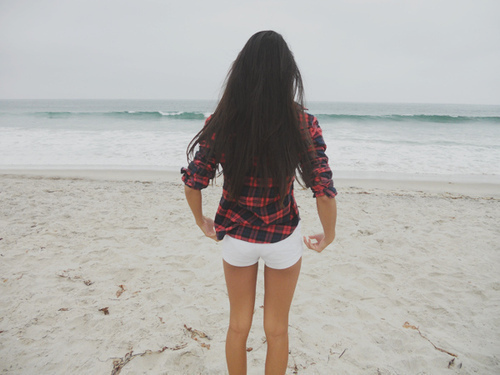beach, brunette, girl, ocean, plaid