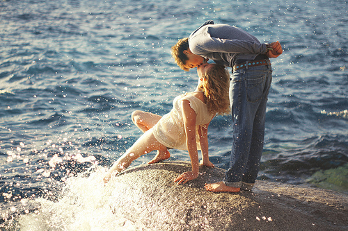 beach, couple, kiss, romance, sea, summer