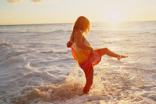 beach, cute, dress, girl, happy