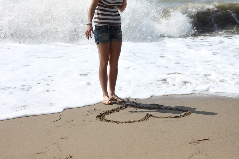 beach, flow, french look, girl, heart